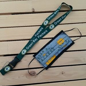 Greenbay packers face mask and lanyard